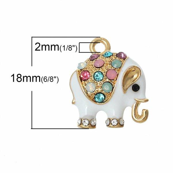 Elephant Charm with Rhinestones 18x15mm