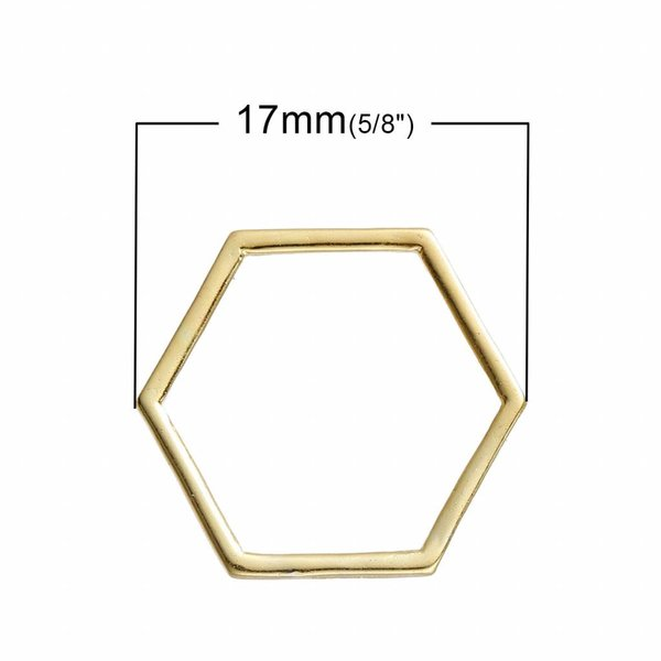 Honeycomb Connector Gold 17x15mm, 8 pieces