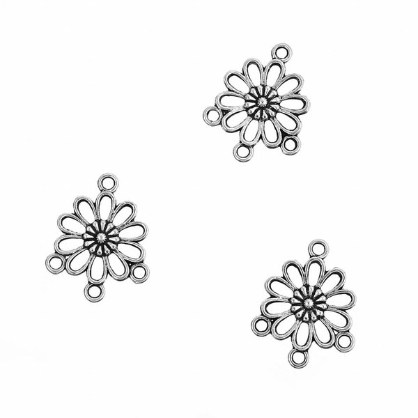 Spacer Flower Silver 23x18mm, 4 pieces