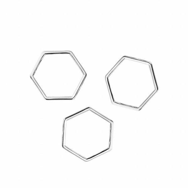 Honeycomb Tussenzetsel Zilver 17x15mm, 8 stuks