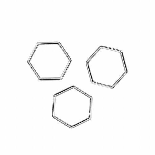 Honeycomb Tussenzetsel Zilver 11x10mm, 8 stuks