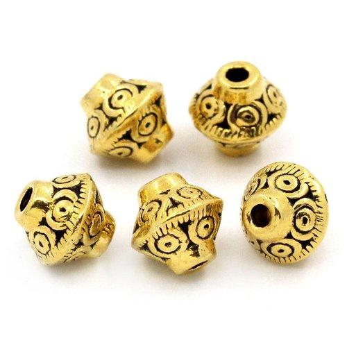 Bicone Spacer Beads Goud 7x6mm, 10 stuks