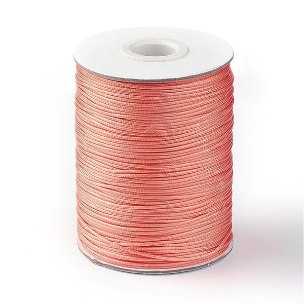 Waxed Cord Salmon Pink 1mm, 3 meter
