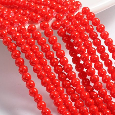 40 pcs Glass beads Red 4mm