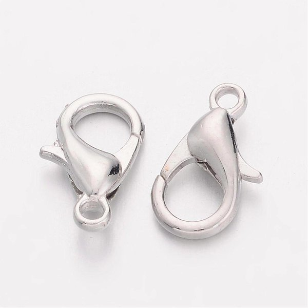 Lobster Clasp Silver 12mm, 8 pieces