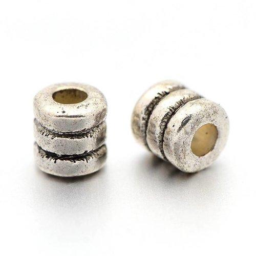 20 stuks Tube Spacer Beads Zilver Nikkelvrij 4x2mm