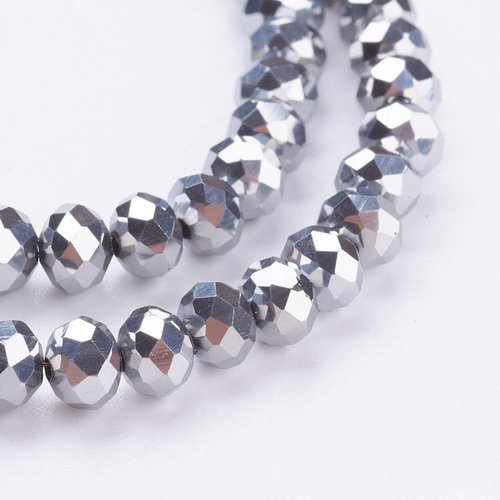 50 stuks Facet Glaskralen Zilver Metallic 6x4mm