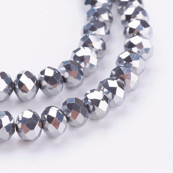 Facet Glaskralen Zilver Metallic 6x4mm, 50 stuks