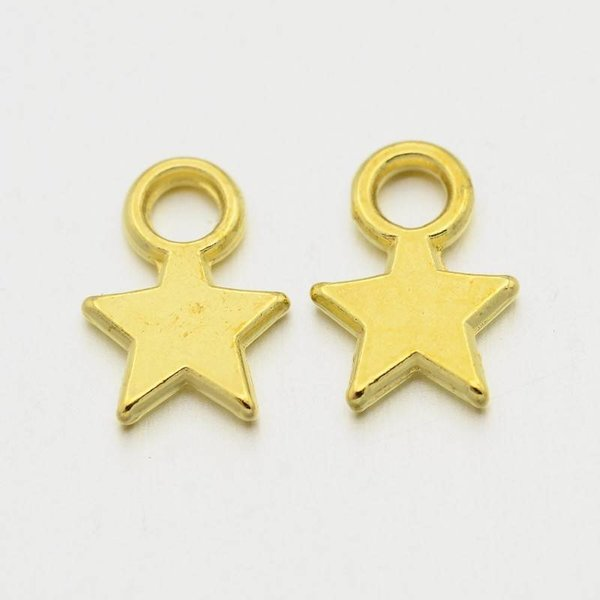 Charm Star Gold Color 8x11mm, 10 pieces
