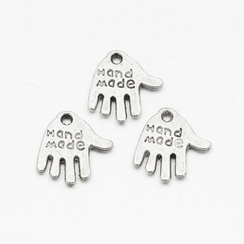 8 stuks Bedel Zilver Handmade 12mm