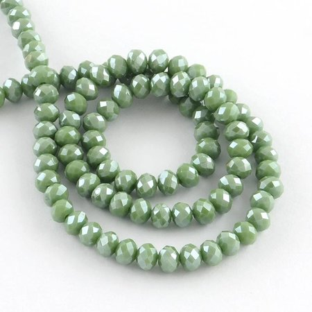 25 pcs Faceted Green Bead Shine 6x4mm