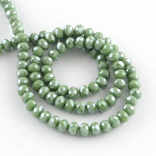 50 stuks Facet Glaskralen Groen Shine 6x4mm