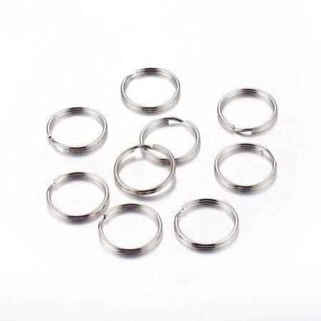 50 stuks Splitring Zilver 6mm