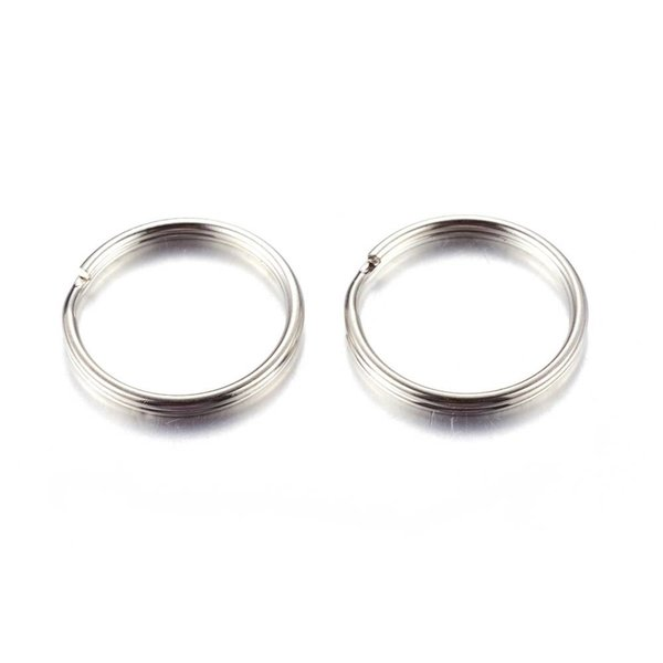 Splitring Double Loop Ring Silver 6mm, 50 pieces