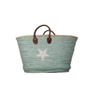 Twenty Violets Straw Beach Bag Maxi Mint White Star