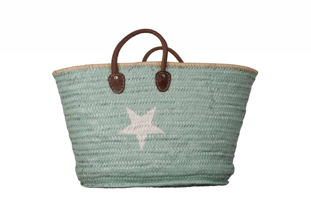 Twenty Violets Straw Beach Bag Maxi Mint White Star - Destination ...