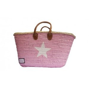 Twenty Violets Straw Beach Bag Maxi Pink White Star