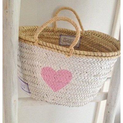 Twenty Violets Straw Beach Bag White Pink Heart (Medium)