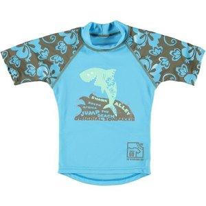 Sonpakkie UV Zwemshirt ´Jump the Beach´ kaki met azuurblauw