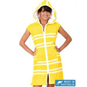 Terry Rich Australia Luxe Dames badjas met capuchon & mouwloos Citron