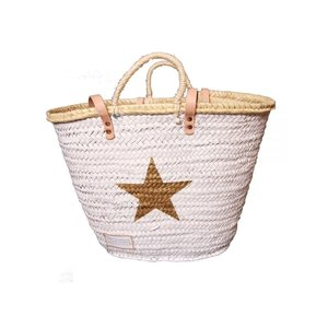 Twenty Violets Straw Beach Bag White Gold Star ( Medium )