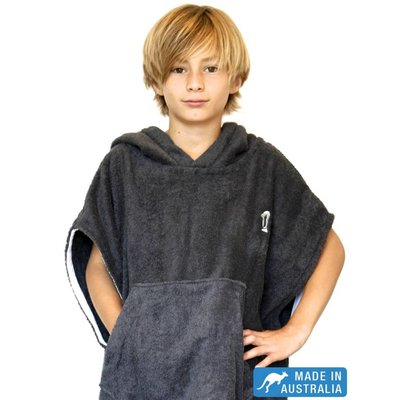 Terry Rich Australia Kids Surf Poncho - Changing Robe Charcoal