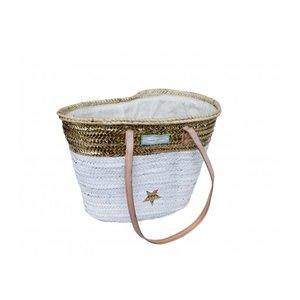 Twenty Violets Straw Beach Bag White/Gold (Medium)