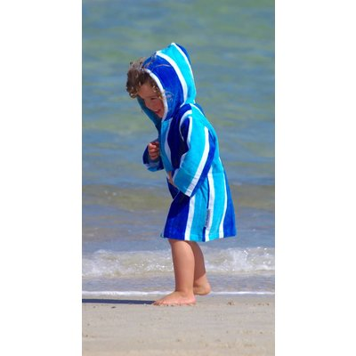 Back Beach Co Kids Beach Robe Blue Stripe