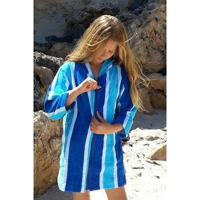 Back Beach Co Blue Stripe Swim Beach Robe for women