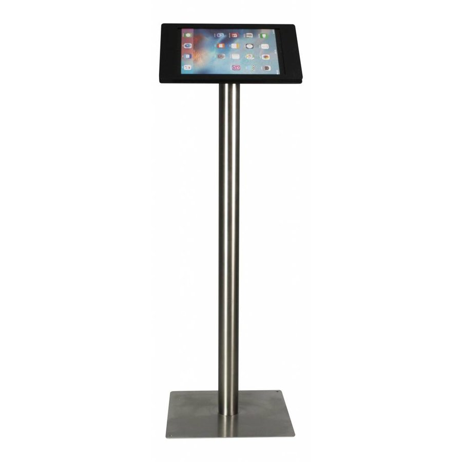 iPad floorstand for iPad Pro 12.9; Fino black acrylic holder lock included and pedestal of stainless steel