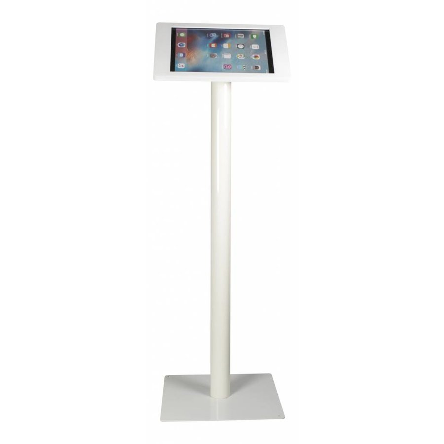 iPad floorstand for iPad Pro 12.9; Fino white acrylic holder, lock included and pedestal of white coated steel