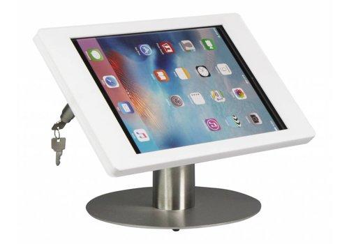 Bravour Soporte de escritorio iPad Pro 12.9. Carcasa en acrílico blanco, tubo acero inoxidable, Fino.