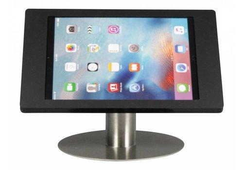 Bravour Tafelstandaard voor iPad Pro 12.9; Fino zwarte acrylaat behuizing met slot en voet van RVS geborsteld staal