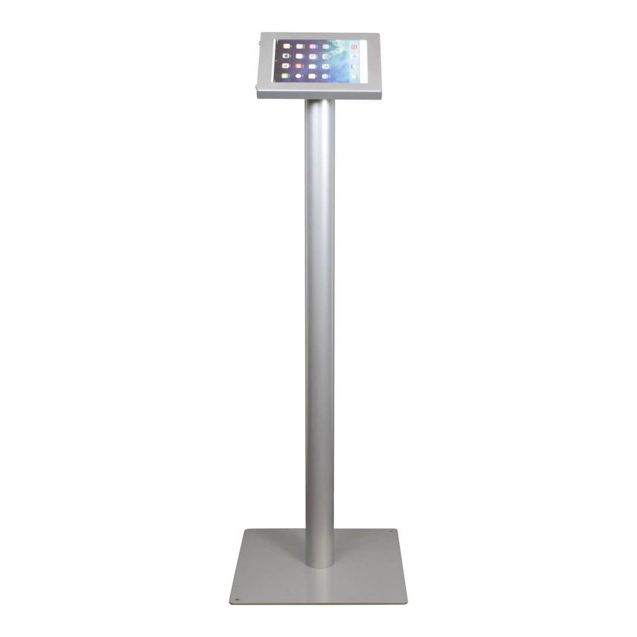 Tablet floor stand display Securo 7-8 inch grey, coated and sturdy steel, lock option, cable integration