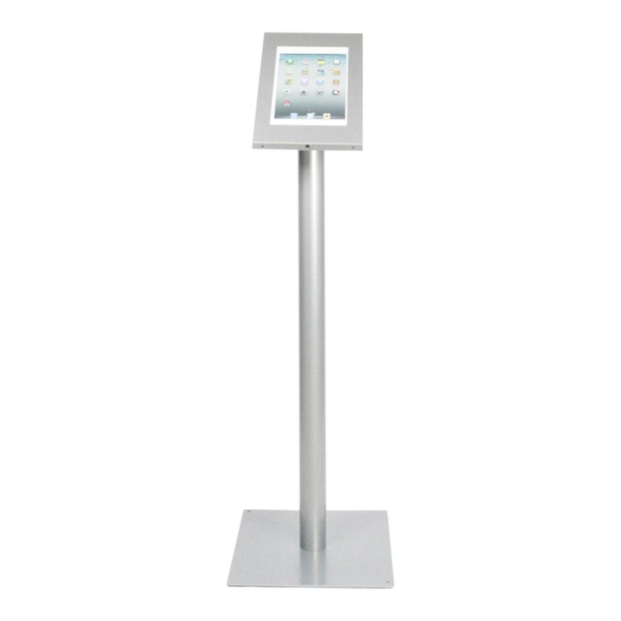 Tablet floor stand Securo 9-11 inch grey, powder coated durable steel, lock option, cable integration