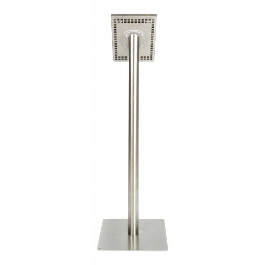 Tablet floor stand Securo 9-11 inch brushed and sturdy stainless steel, lockable, cable integration