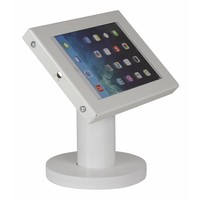 Tablet desk stand Securo 7-8 inch white, coated and strong steel, lock option, cable integration