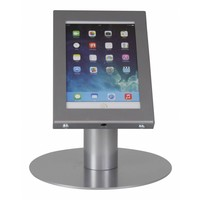 Tablet desk stand Securo 7-8 inch grey, coated and rugged steel, lock option, cable integration