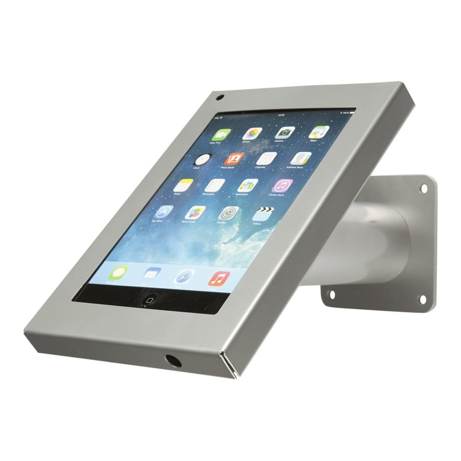 Tablet wall and table stand Securo 7-8 inch grey, coated and solid steel, lockable, cable management