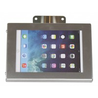 Tablet wall and desk stand Securo 7-8 inch, stainless steel, brushed and solid steel, lockable, cable integration