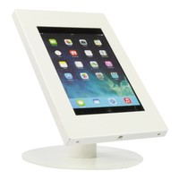 Tablet desk stand Securo 9-11 inch white, coated and sturdy steel, lock option, cable integration