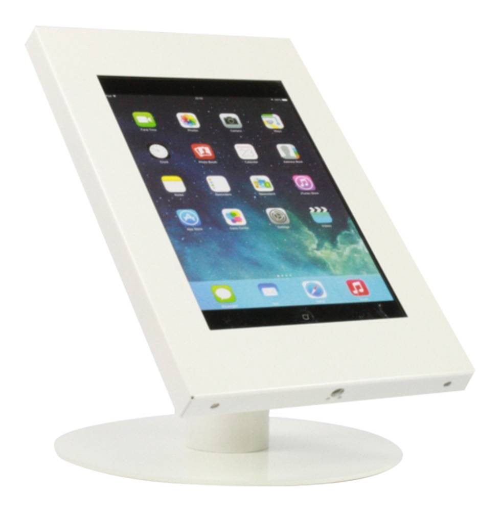 Tablet Desk Stand Securo 9 11 Inch White Lockable Exhibishop