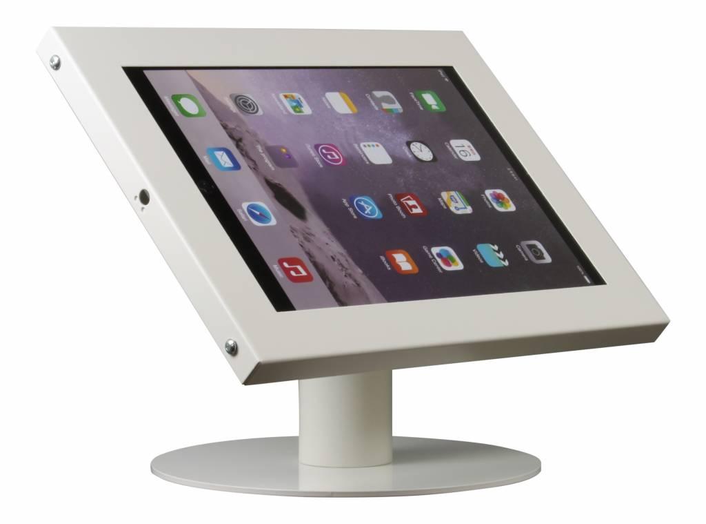Tablet Houder Tafel : Tablethouder voor tablets inch wit staand op tafel exhibishop
