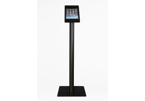 Bravour Vloerstandaard voor iPad Mini; Fino zwarte acrylaat behuizing met slot en voet van zwart gecoat staal