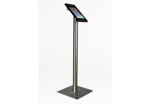Bravour Vloerstandaard voor iPad Mini; Fino zwarte kunststof behuizing met slot en voet van RVS/ geborsteld staal