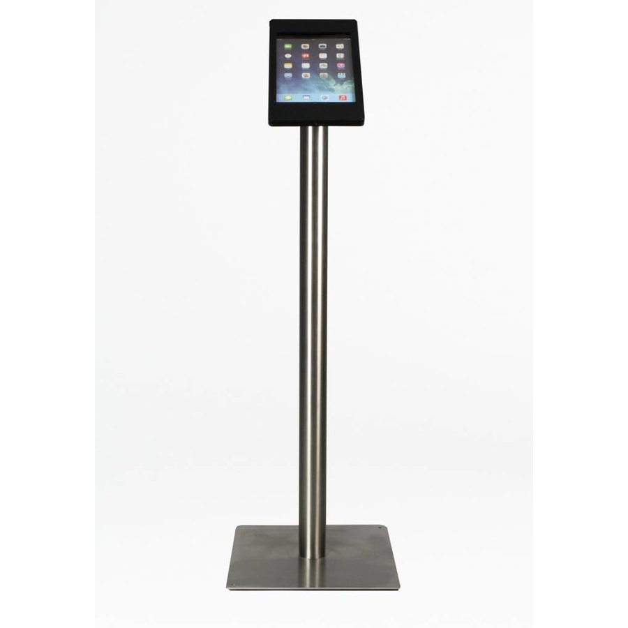 iPad mini floor stand Fino black / stainless steel, with luxury acrylic tablet casing.