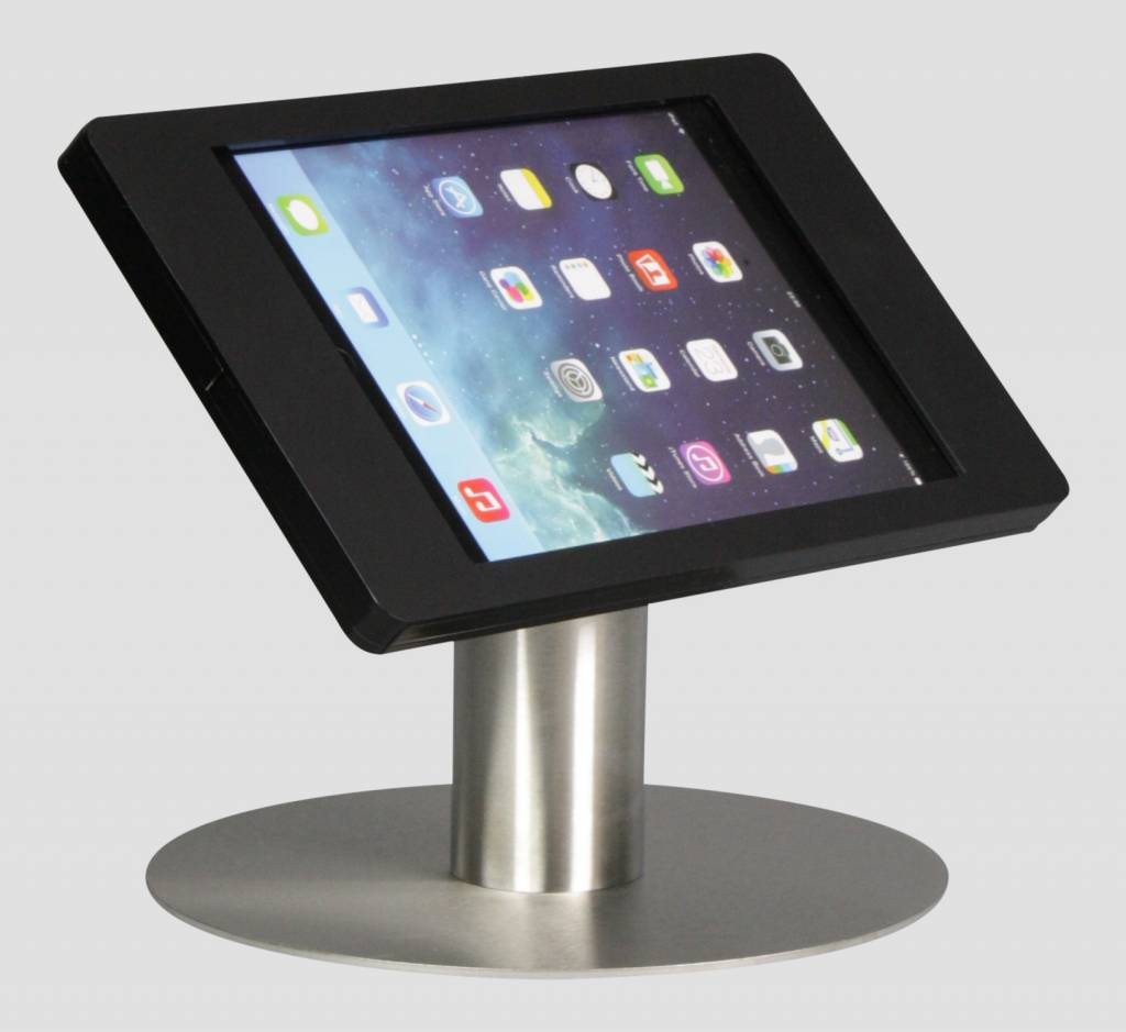 Ipad Mini Desk Stand Fino Black With Stainless Steel Base Portrait Landscape Or Tilting
