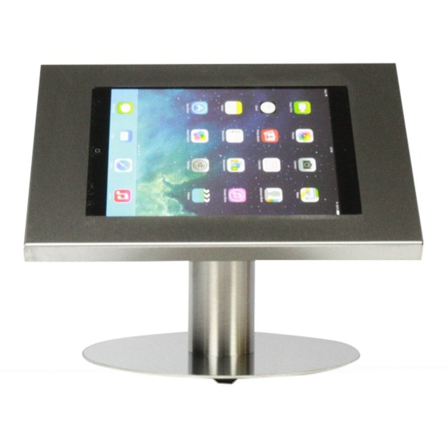 Tablet desk stand Securo 9-11 inch stainless steel, coated and sturdy steel, lockable, cable integration