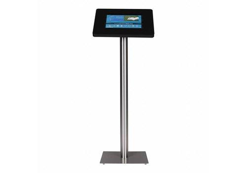Bravour Standaard zwart voor 12 tot 13 inch tablets, acrylaat cassette voet geborsteld staal/RVS