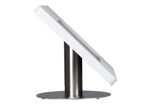 Bravour iPad tafelstandaard voor 9-11 inch tablets, Meglio, wit acrylaat en voet van geborsteld staal